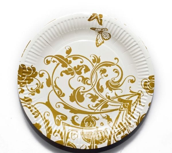 Gold and White Paper Plate