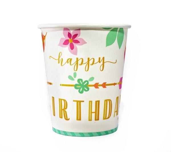 Happy Birthday Floral Paper Cup