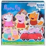 Peppa Pig 5 Shaped Puzzles In Clear Lid Box